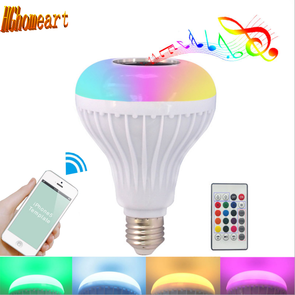 HGhomeart Mobile Phone Bluetooth 12W Speaker Music Colorful RGB LED Lamp Bulb 24Key IR Remote Controller E27 Light Bulbs Lampada lightme smart e27 light bulb intelligent colorful led lamp bluetooth 3 0 speaker for home stage energy saving led light bulbs