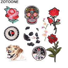 ZOTOONE Skull Punk Morale Tactical Stripes for Clothes Rose Alien Embroidered Patch Applique Iron Patches Clothing Diy E