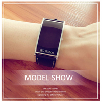 Fashion Unisex Black Leather LED   Digital     Watch   Mens Casual Simple Business Clock   Watches   Ms Rectangular Wristwatch montre homme