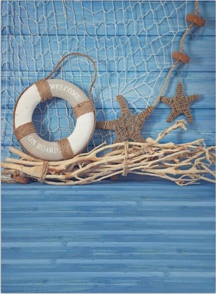8x12ft Navy Blue Wooden Planks Board Fishing Net Stars