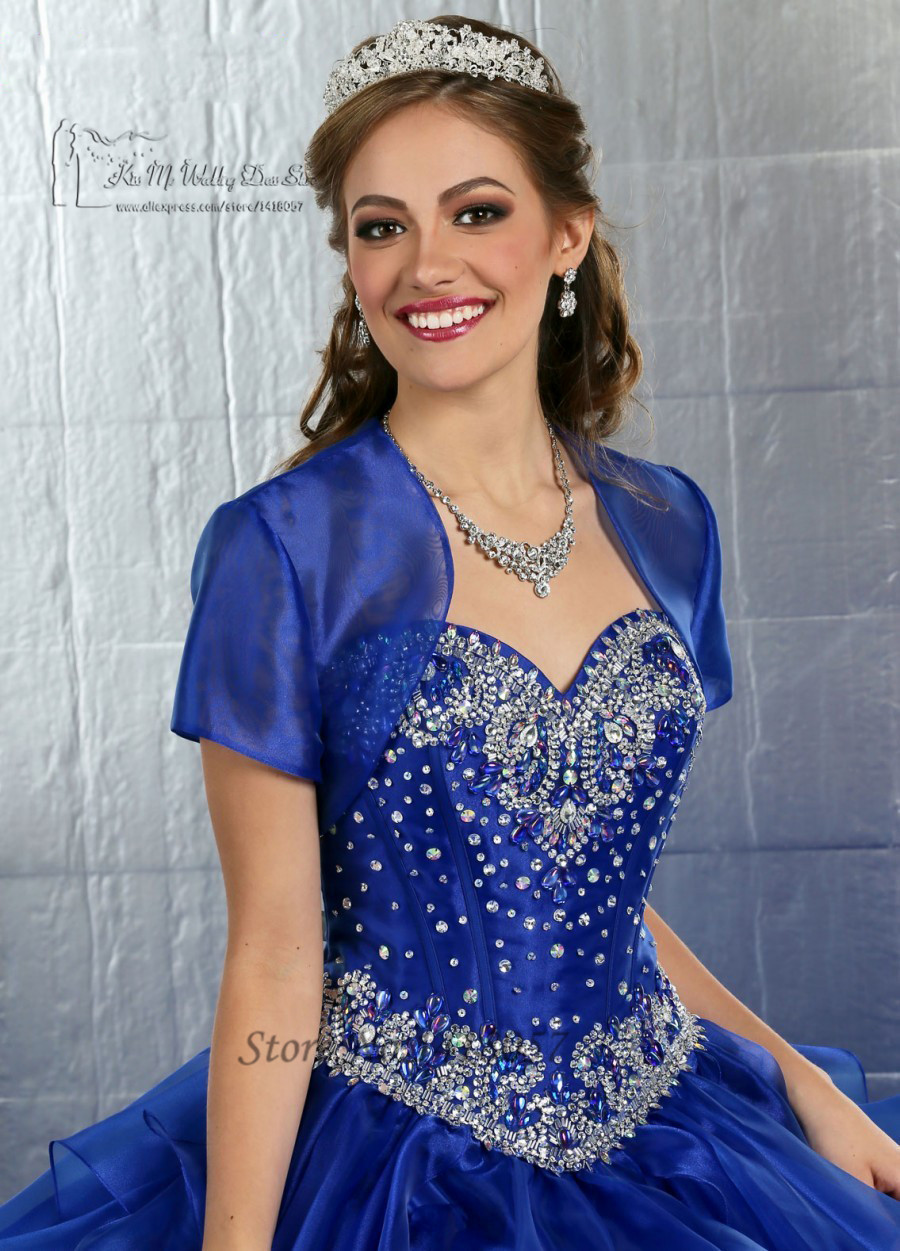 Royal Blue Quinceanera Dresses with Jacket Crystal Masquerade Ball ...