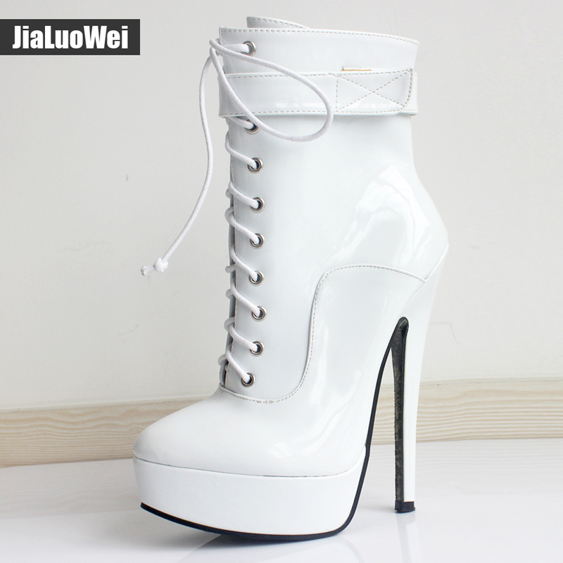 jialuowei New Women Shoes PU Leather Ankle Strap Boots 18cm/7 High Thin Heel Platform Boots Lace-up Ladies sexy fetish boots jialuowei women sexy fashion shoes lace up knee high thin high heel platform thigh high boots pointed stiletto zip leather boots