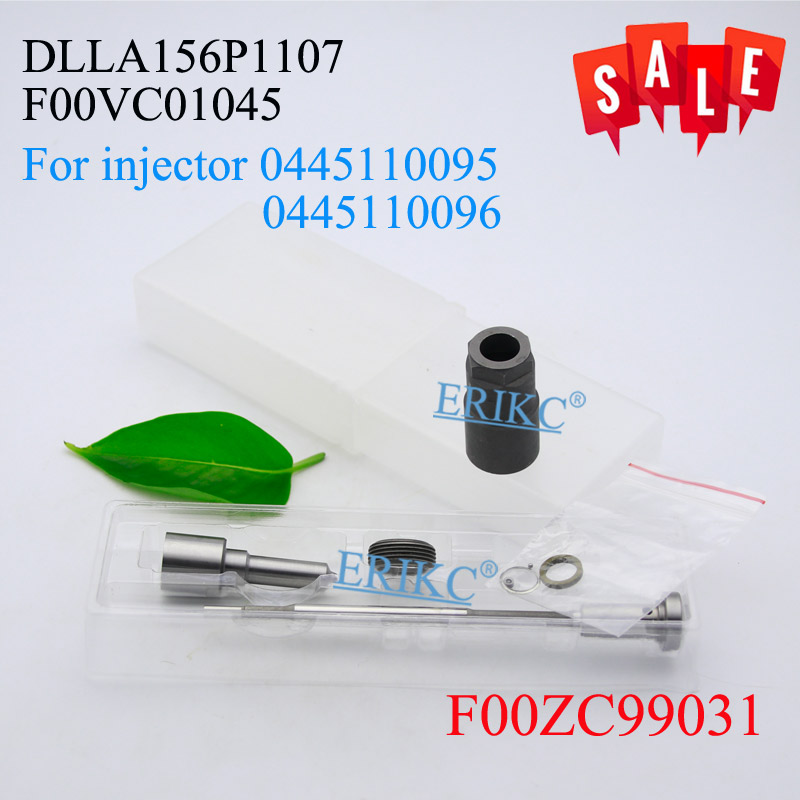 ERIKC 0445110095 Common Rail Diesel Injector Overhaul Repair Kits Nozzle DLLA156P1107 Valve F00VC01045 for MB 6130700587