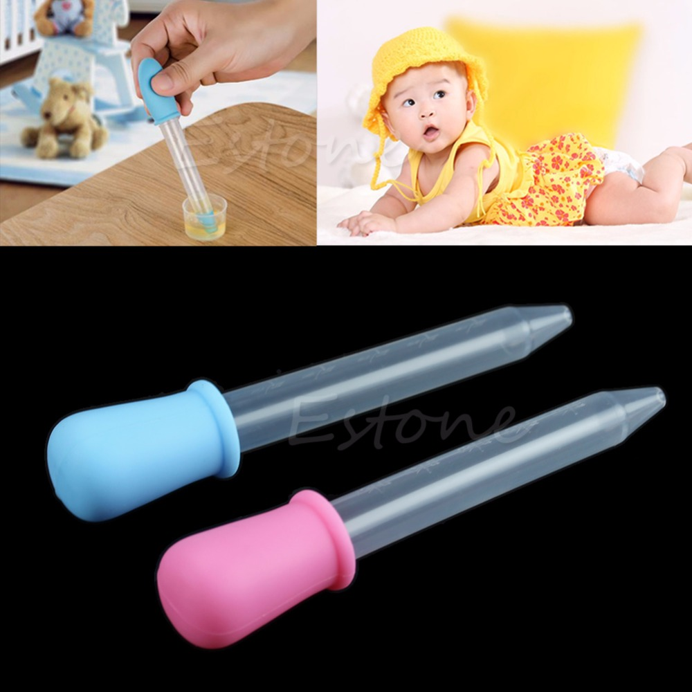 Baby Toddler Silicone Plastic Feeding Medicine Liquid Eye Ear Pipette Dropper Blue/Pink