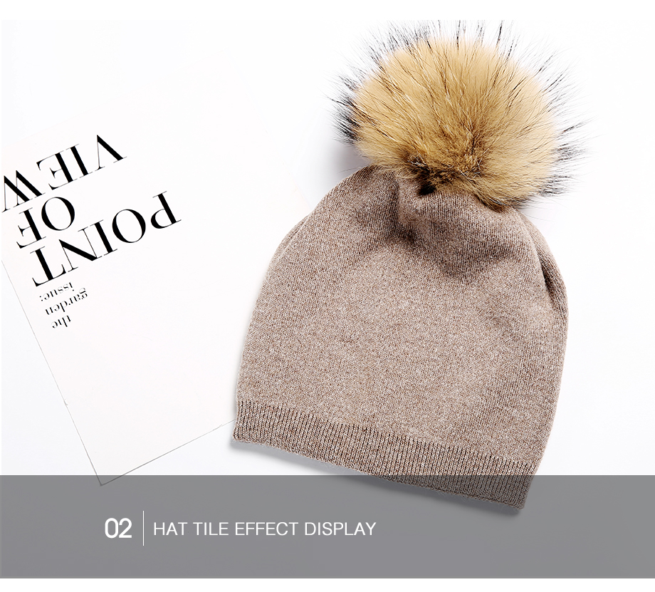 Autumn Winter Beanies Hat For Women Knitted Wool Skullies Casual Cap With Real Raccoon Fox Fur Pompom Solid Colors Ski Beanie (13)