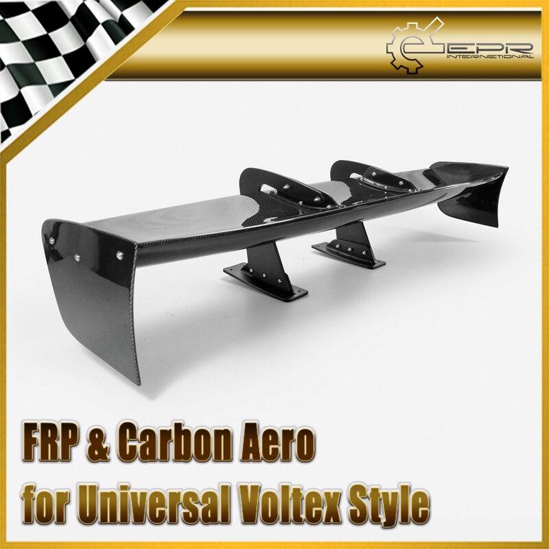 Acessórios do carro de Montagem Universal Estilo Voltex Universal Pescoço de Cisne GT Spoiler De Fibra De Carbono Brilhante Fibre VTX Tronco Asa Kit Corpo