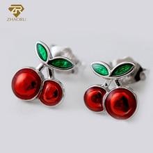 ZHAORU 925 Sterling Sliver Enamal Earrings Silver Stud Earrings for Women Fine Jewelry Fashion Strawberry Earring