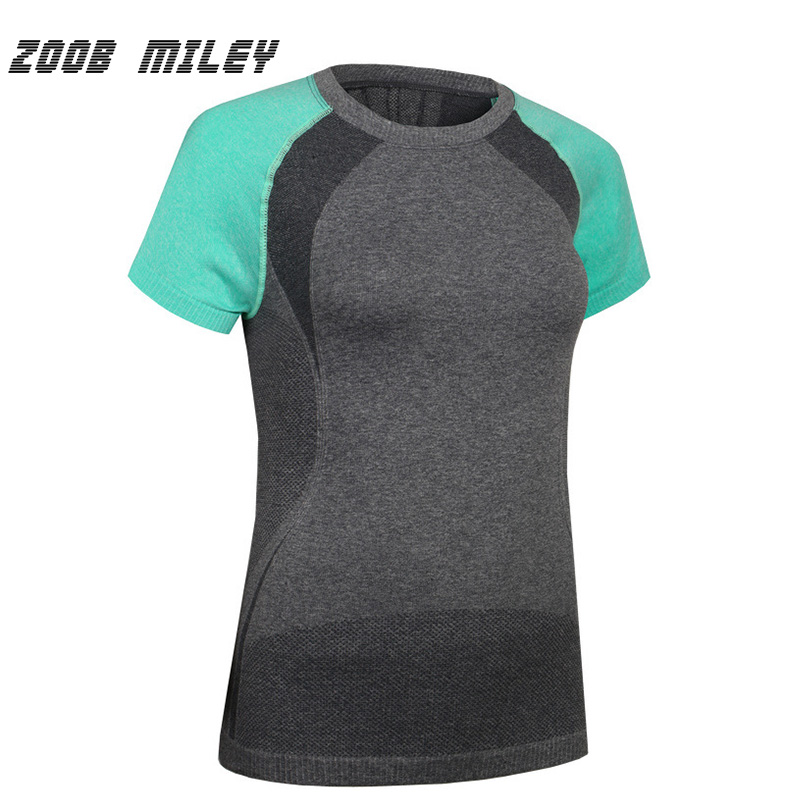 ZOOB MILEY Womens Breathable Yoga T Shirt Tights for Running Gym Fitness Dry Quick Workout Sports Shirts O-Neck Short Sleeve
