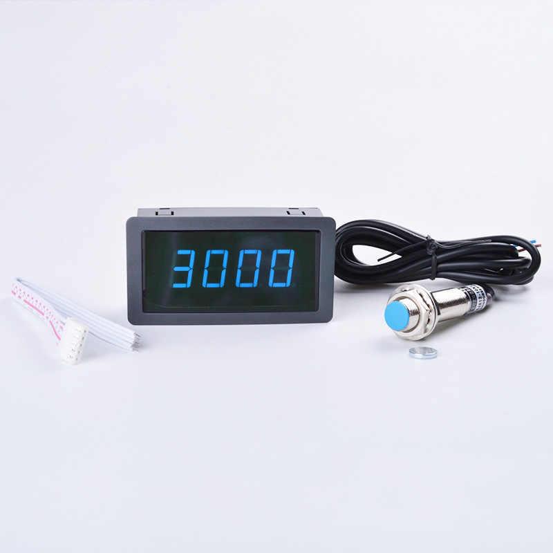 4 Digital Red Green Blue LED Tachometer RPM Speed Meter+Hall Switch Proximity Switch Sensor DC 8-15V Measure range 10-9999RPM