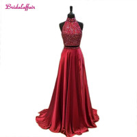 Burgundy 2018 Prom Dresses Rhinestone A line High Collar Two Pieces Sexy Long Prom Gown Evening Dresses Evening Gown