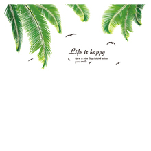 Palm Tree Leaves Flamingos PVC Wall Stickers for Home Decoration