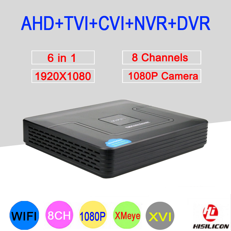 Hi3521A XMeye 8 Channel 8CH 1080P Surveillance Video Recorder 6 in 1 Hybrid Wifi Onvif MINI NVR TVI CVI AHD DVR Free Shipping