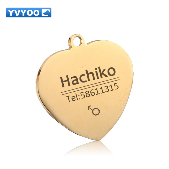 YVYOO Free engraving Pet Dog cat collar accessories Decoration Pet ID Dog Tags Collars stainless steel  cat tag customized tag 3