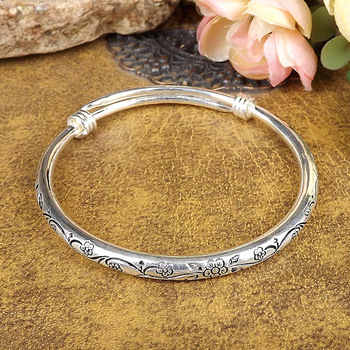 new Gypsy Bohemian Vintage Retro Silver Bangles Women Classic Handmade Tibetan Silver Carved Plum Cuff Bracelets