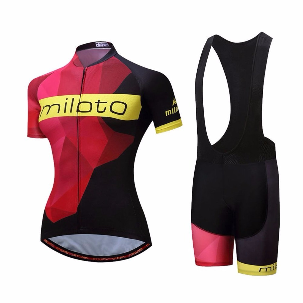 Cycling Jersey & Black Bib Shorts Set Womens Short Sleeve Reflective Ciclismo Cycling Clothing Bib Kit Race Fit XS-5XL