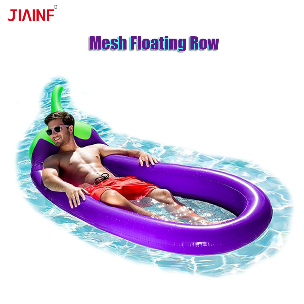 JIAINF Mesh Inflatable Eggplant Floating Row Swimming Pool Float Floating Bed For Adults