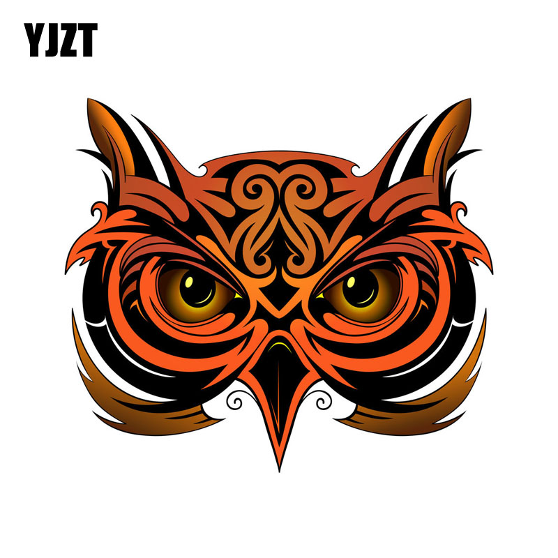 YJZT 12.7CM*11CM Personality Owl Style Car Sticker Cartoon Animal Body Helmet Decal 6-2301