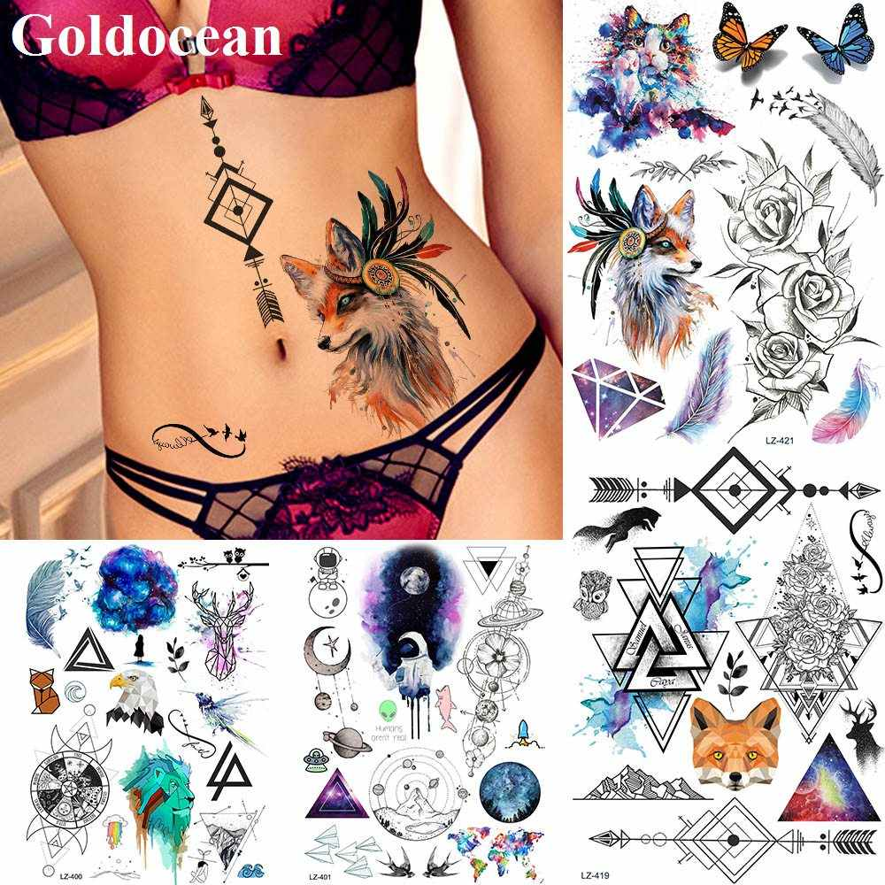 Watercolor Indian Tribal Fox Tattoos Stickers Black Sketch Rose Flower Fake Tattoos Temporary Feather Birds Arrow Tatoos Sheets Aliexpress
