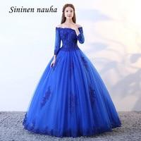 Royal Blue 2019 Quinceanera Dresses Long Sleeves Off The Shoulder Appliques Ball Gown Vestidos De 15 Anos Sweet 16 Dresses 338