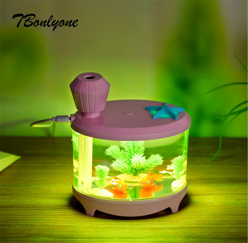 TBonlyone 460ML Fish Tank USB Air Humidifier Aroma Essential Oil Diffuser for Home Electric Aroma Diffuser Ultrasonic Humidifier fish oil в аптеке