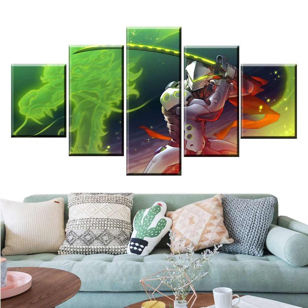 5 Pièces Genji Jeu Toile Imprimé Peinture Pour Salon Mur Art Décor Hd Photo Oeuvres D Art Moderne Décoratif Affiche