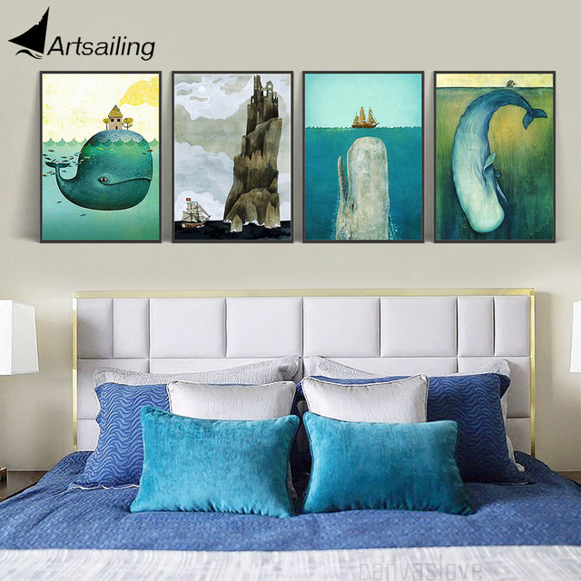 Nordic Poster Whale Sea Ship Picture In Nursery Scandinavian