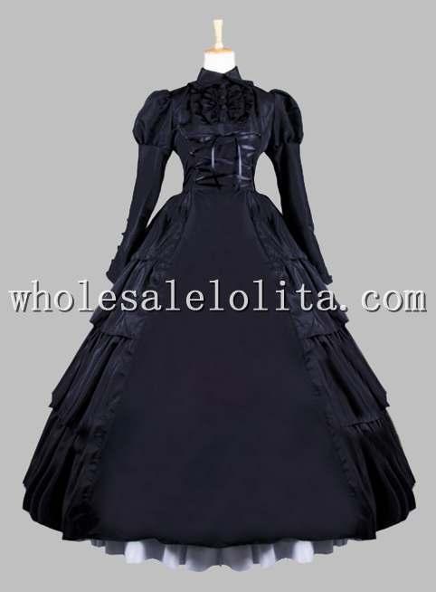 19-й век готический черный Викторианский стиль бальное платье сценический костюм