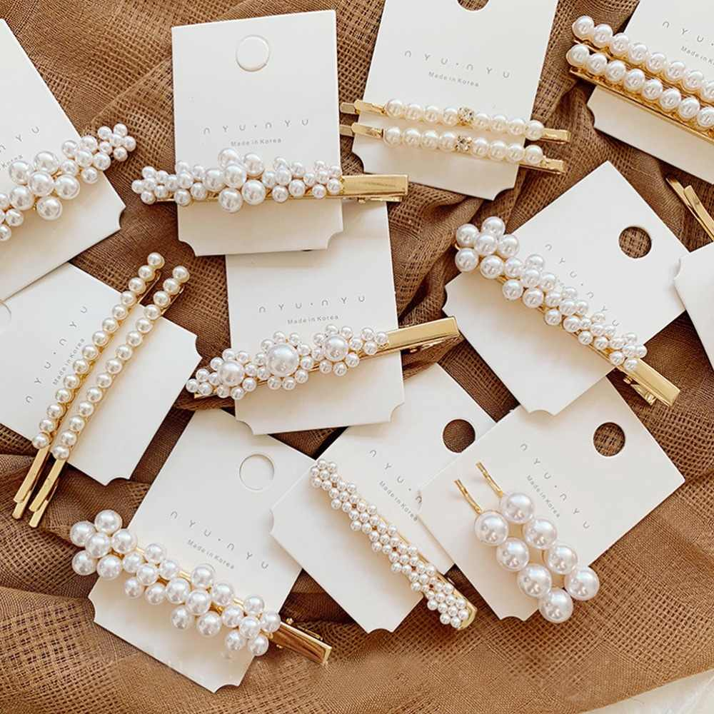 2019 INS Trendy Alloy Geometric Hairpins Headwear Imitation Pearl BB Hair Clips Wedding Fashion Female Hair Jewelry Accessories