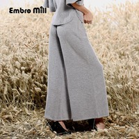 High end women black/gray loose long pants Chinese style vintage royal lady cashmere knit casual trousers female M XXL