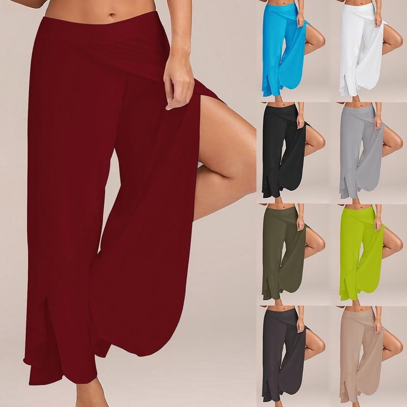 LASPERALPlus Boyutu Pantolon Kadın Moda Katı Yüksek Bel Geniş - Bayan Giyimi - Fotoğraf 4