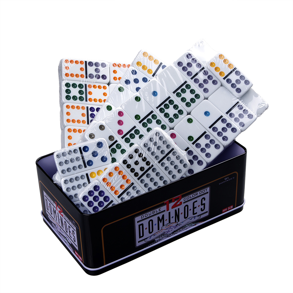 High quality board games 91 pcs double 12 melamine domino block set with metal box high quality board games 91 pcs double 12 melamine domino block set with metal box