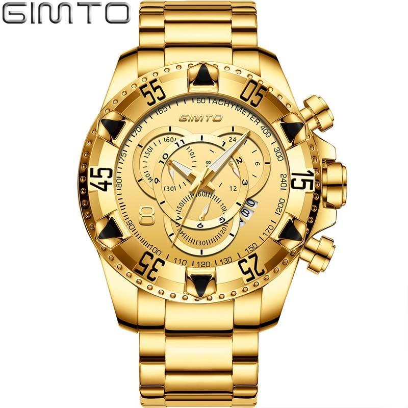Men Watch Golden Stainless Steel Waterproof Big Dial Male Wristwatch Japan Quartz Business Clock Gift GIMTO Luxury Brand Gold