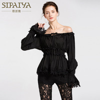 New summer 2018 word shoulder white lace collar bone leakage coat loose female ins fire all their shirt