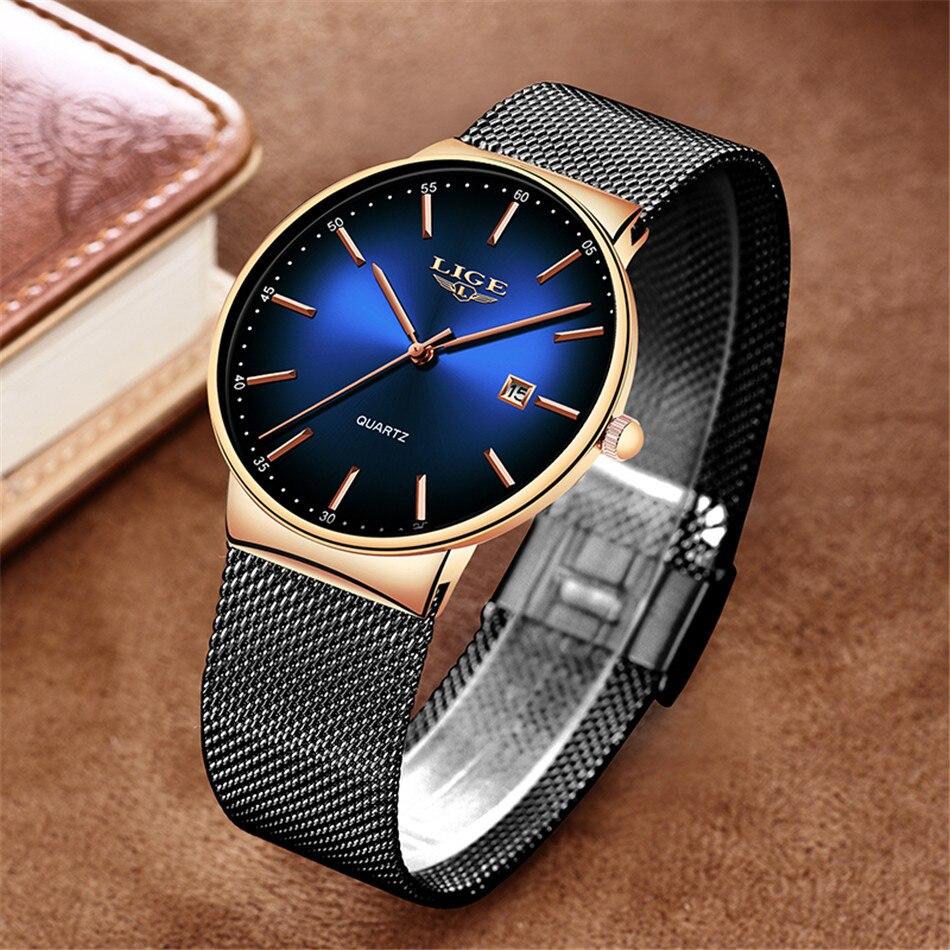 HTB1ZU7wQNjaK1RjSZFAq6zdLFXac LIGE New Mens Watches Top Brand Luxury Fashion Mesh Belt Watch Men Waterproof Wrist Watch Analog Quartz Clock erkek kol saati