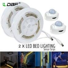 الحركة المنشط إضاءة السرير ، مقاوم للماء 1/2 السرير 36LED LED قطاع محس حركة ضوء الليل التلقائي إيقاف الموقت سرير مزدوج