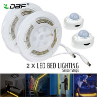 Aktywowany ruchem Łóżko Światło, wodoodporna 2*1.2 M Taśmy LED LED Motion Sensor Light Night + Automatyczny Wyłącznik Czasowy Podwójne Łóżko Zestaw