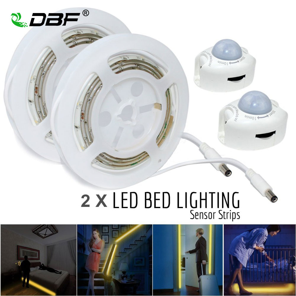 Motion Activated Bed Light, Waterproof 2*1.2M 36LED LED Strip Motion Sensor Night Light+Automatic Shut Off Timer Double Bed Kit