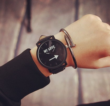 Fashion watch white and black face printed good boy&my love Leather Unisex Watch