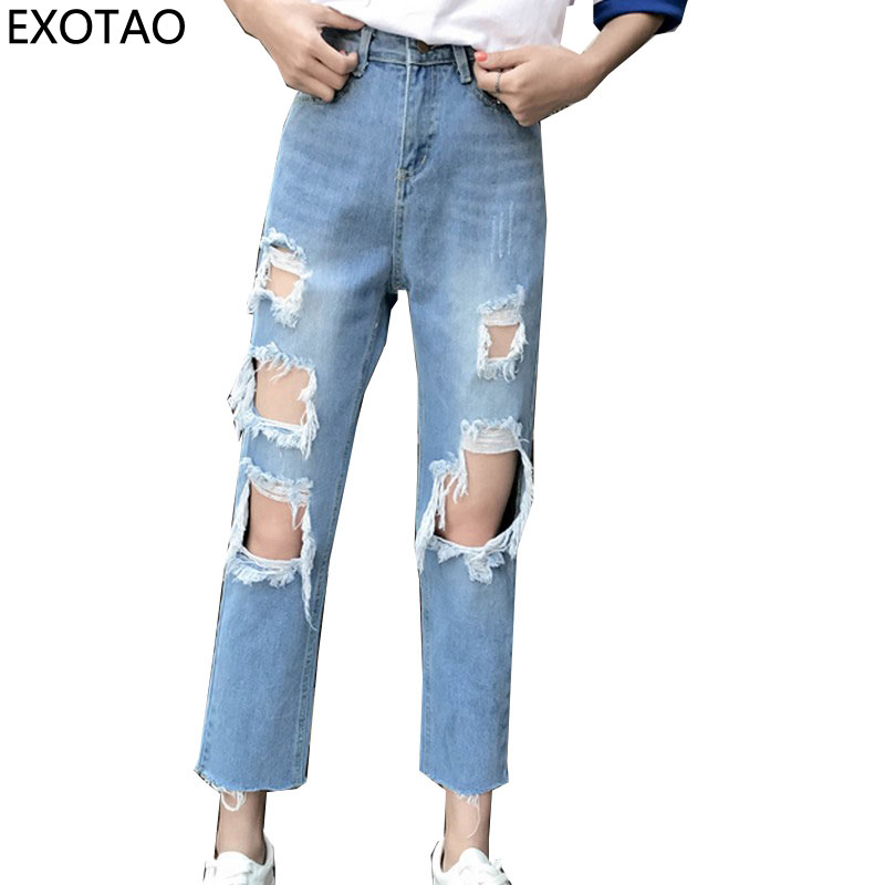 EXOTAO Ripped Ankle-Length Jeans for Women High Waist Denim Pants 2017 Autumn Vaqueros Mujer Plus Size Streetwear Jeans Female zbaiyh 2017 summer fashion high waist jeans women ripped jean retro boyfriend femme vaqueros mujer plus size jeans denim pants