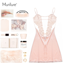 Satin Solid Sexy Pajamas with Lace Floral Pyjama Femme Fashion Women Nightgown Sleepwear Homewear for Ladies