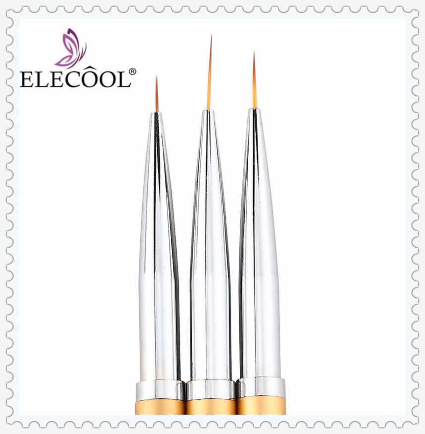 ELECOOL 3/1pcs אמנות ציפורן קו ציור עט מברשת סט הארכת ג 'ל פולני פס פירוט תמונה Builder ציור מברשות מניקור