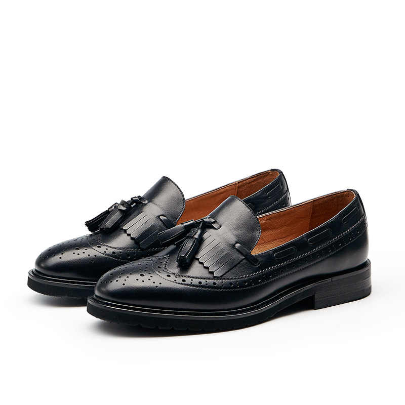 71ae4ca16ed ... BeauToday Loafers Women Brogue Style Genuine Cow Leather Brand Fringe  Round Toe Slip-On Lady ...