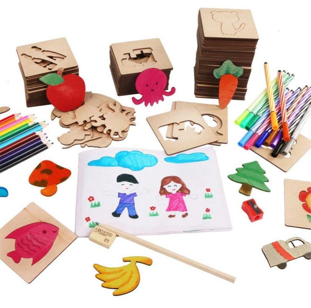 50 Pieces Wooden Drawing Stencils and Templates Set for Kids, Journal Stencils Planner Includes Animal Fruit Plant Shapes, Idea wonderfoam shapes assorted shapes colors 720 pieces pack
