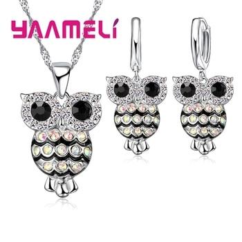 Conjunto de joyas de plata de ley 925 de lujo para mujer brillante circón cúbico Retro búho nocturno para niñas regalos collar pendientes