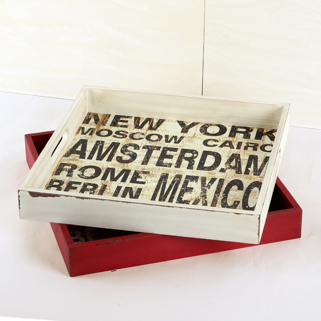 1pc Large Letter Wooden Tray Vintage Box Pallets Storage Bo Decorative Jewery Home Decor Trays Supplies