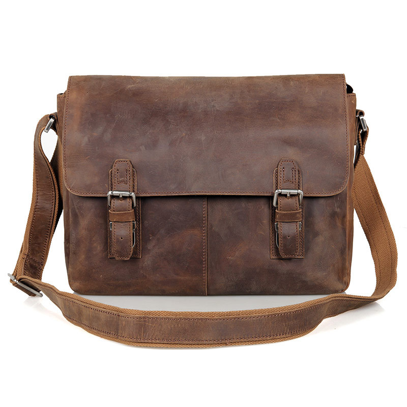Nesitu Vintage High Quality Brown Crazy Horse Leather Men Messenger Bags Genuine Leather Cross Body Bag  #M6002L