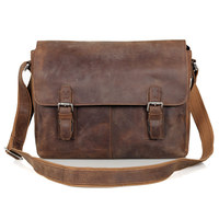 Maxdo Vintage High Quality Brown Crazy Horse Leather Men Messenger Bags Genuine Leather Cross Body Bag