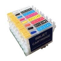 8 renk T0540 T0549 doldurulabilir mürekkep kartuşları için otomatik sıfırlama çipleri ile Epson Stylus Photo R800 R1800 kalıcı cips ile|ink cartridge|refillable ink cartridgesrefillable cartridges -