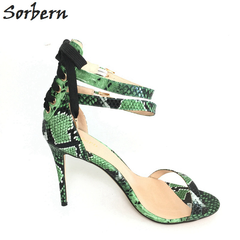 Sorbern Green Snakeskin Thin High Heels Sandals Women Zapatos De Mujer De Moda 2017 Verano Ankle Strap Open Toe Party Sandals туфли на высоком каблуке 2015 toe zapatos de 35 40 41 42 high heels