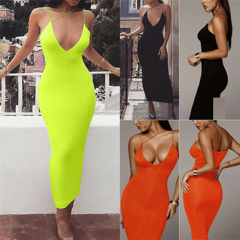 2019 Women <font><b>Sexy</b></font> <font><b>Bodycon</b></font> Sleeveless Strap Deep V-neck <font><b>Dress</b></font> Hollow Out Solid Clubwear Party Long Maxi <font><b>Dress</b></font> Sundress New Arrival image